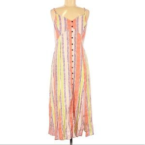 Band of Gypsies striped button midi dress pink md